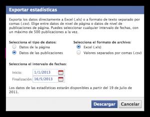 medidas de facebook